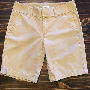 J. Crew Stretch Khaki Shorts, Frankie, Size 0